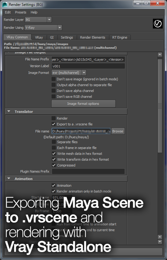 Exporting Maya Scene to Vrscene and Render with Vray Standalone